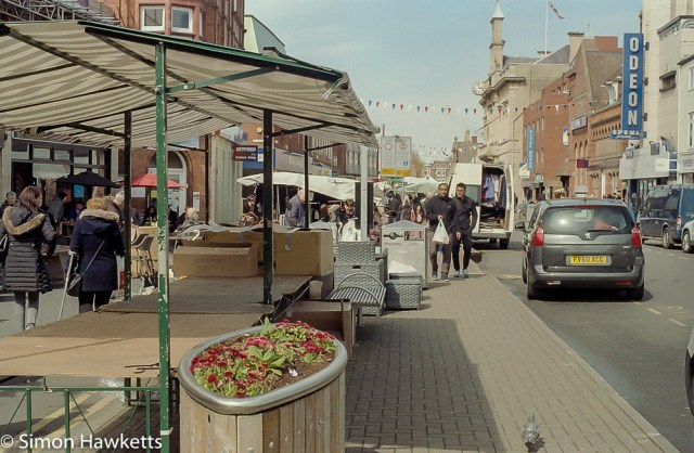 Minolta X-700 sample pictures - A market stall in Loughborough town