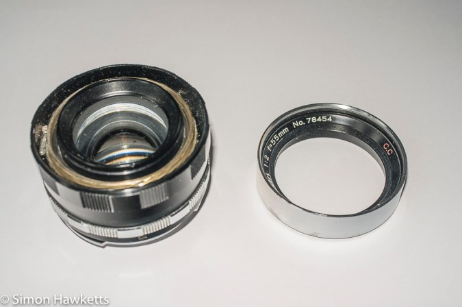 Petri 55mm f/2 CC lens with front trim removed