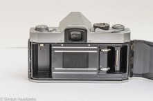 Petri Penta V6 35mm camera - rear view showing the film chamber and horizontal focal plane shutter