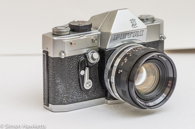Petri Penta V6 35mm camera - side view showing self timer, shutter release and exposure meter fixing