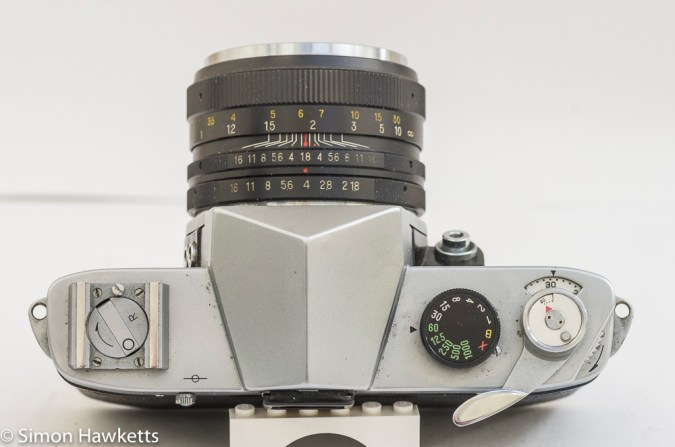 Yashica Pentamatic 35mm slr top view showing control layout