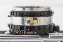 Fujica 35 SE 35mm rangefinder camera - lens showing the aperture, shutter speed and film speed scales