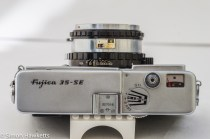 Fujica 35 SE 35mm rangefinder camera - top of the camera showing the light meter display, focus, flash shoe and shutter release