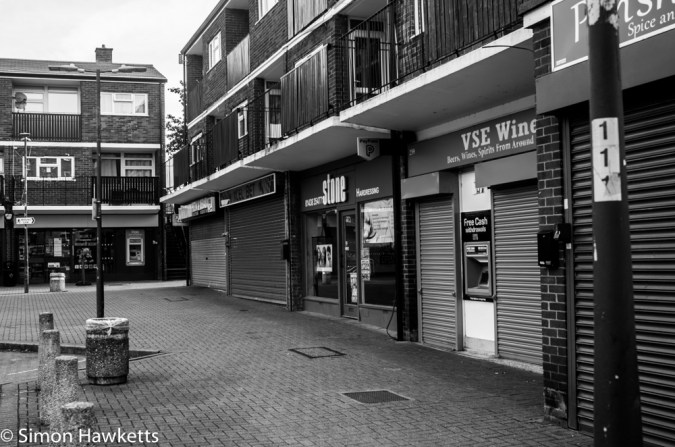 Pentax-M SMC 28mm f/2.8 samples - shops converted to black & white