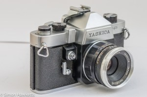Yashica J-P 35mm slr camera - side view showing the shutter release, self timer and exposure meter slot