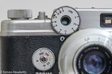 Argus C4 35mm rangefinder camera - focus coupling gears and the shutter speed dial