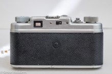 Argus C4 35mm rangefinder camera - rear view showing the flash sync switch