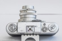 Argus C4 35mm rangefinder camera - top view showing marking and corrosion