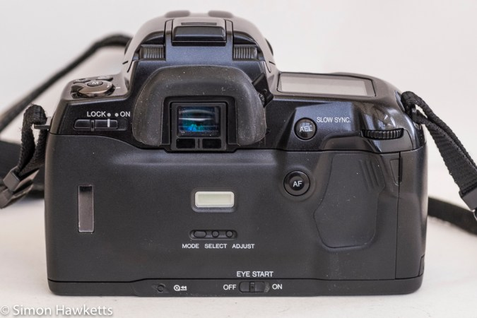 Minolta Dynax 800si autofocus 35mm camera - rear view showing data back