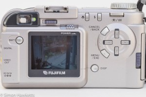 Fuji MX-2900 compact camera - rear view showing image on LCD
