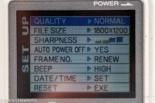 Fuji MX-2900 compact camera - setup menu display