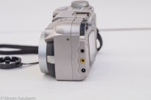 Fuji MX-2900 compact camera - side view showing connectors