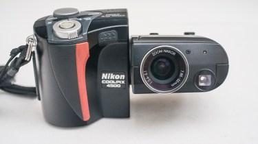 Nikon Coolpix 4500 digital camera - front of camera with lens in shooting position