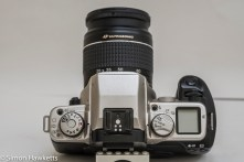 Canon EOS 50e 35mm autofocus camera - top of camera showing control layout