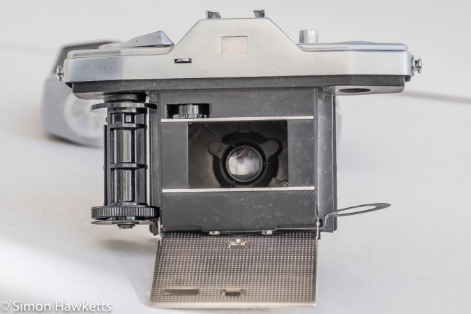 Pentona II viewfinder camera - bottom removed and ready for loading film