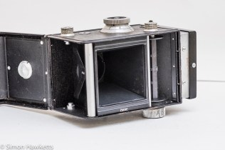 Weltaflex Twin Lens Reflex camera - film chamber ready for loading