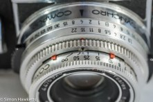 Kodak Retina Reflex III 35mm slr camera - lens view showing depth of field indicators and shutter speed / aperture settings