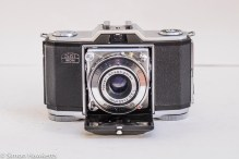 Zeiss Ikon Contina I 35mm viewfinder folding camera - front view with lens down