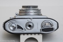 Balda Baldessa 1B 35mm rangefinder camera - bottom view showing film advance, rewind and film type reminder