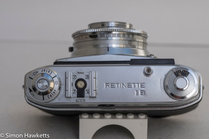 Kodak Retinette 1B 35mm viewfinder camera - top of camera