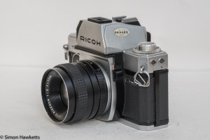 Ricoh TLS 401 35mm slr - side view showing metering switch and flash sync sockets
