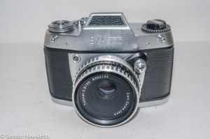 Ihagee Exa 500 35mm film camera - front view with Carl Zeiss Jena Tessar