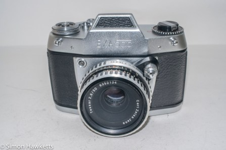 Exakta Exa 500 35mm film camera - front view with Carl Zeiss Jena Tessar
