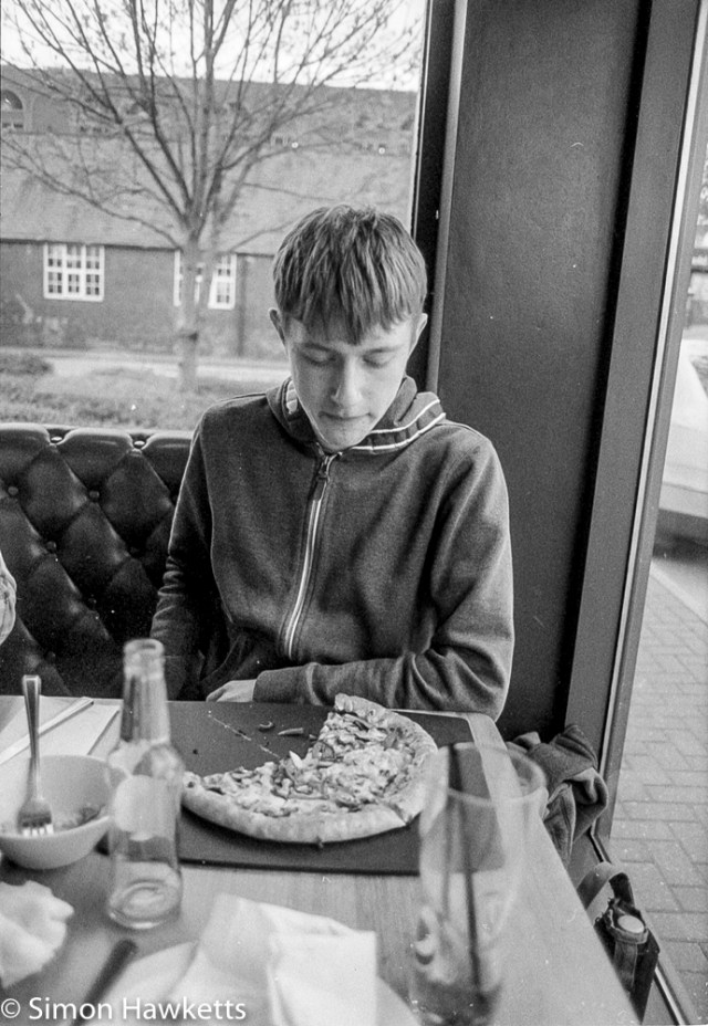 Pentax Program A sample pictures - James in PizzaHut