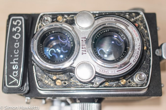 Yashica 635 front panel covering removed