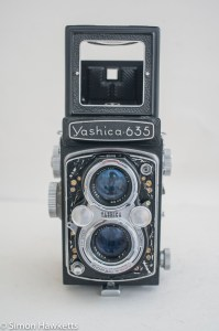 Yashica 635 TLR front view with sports finder