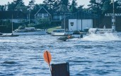 Discovered colour slides - A speedboat near houses by the coast