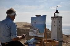 Artist John Kristensen has painted Rubjerg Knude every year since the 1970s [Simon Hooper]