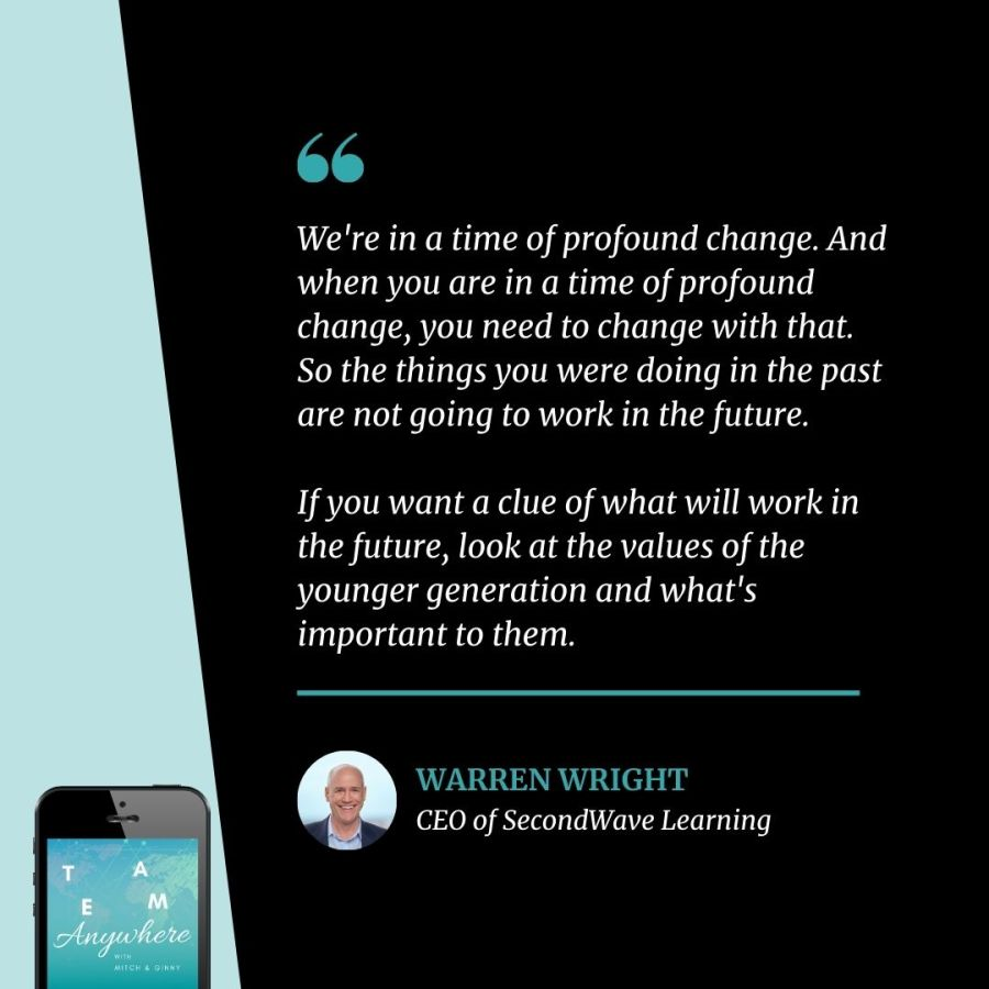 We're in a time of profound change. And when you are in a time of profound change, you need to change with that. So the things you were doing in the past are not going to work in the future. If you want a clue of what will work in the future, look at the values of the younger generation and what's important to them. Coach your Multigenerational team Teamwork Quotes