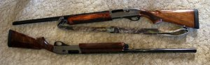 A pair of Remington 1100 G3 Left Handers. My favourite gun, and one that shoots really well for me.