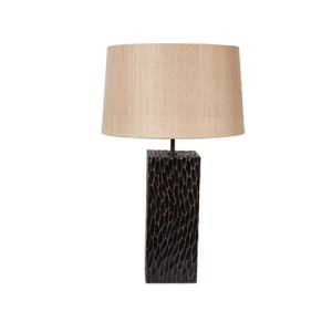 Rectangular lamp in adzed oak