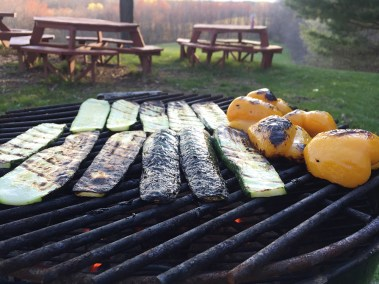 Barbecued zucchini and sweet yellow peppers