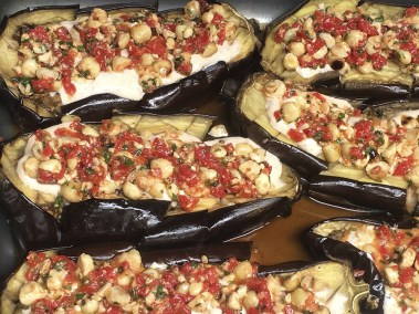 Roasted eggplant stuffed  with tomatoes, chick peas and mozzarella