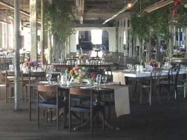 Indoor urban wedding reception setting
