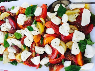 Heirloom tomato salad with mozzarella and fresh basil
