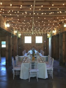 Indoor wedding reception setting in the Hudson Valley