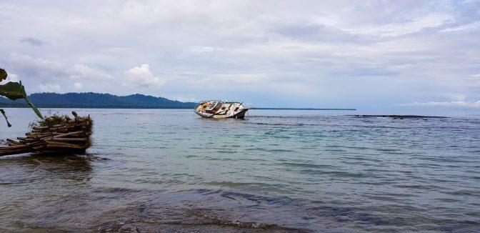 Capsized ship on the shore