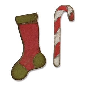 Tim Holtz Sizzix MINI STOCKING & CANDY CANE Dies Movers & Shapers 658775
