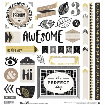 BasicGrey BARISTA Cardstock Element Stickers BTA4884