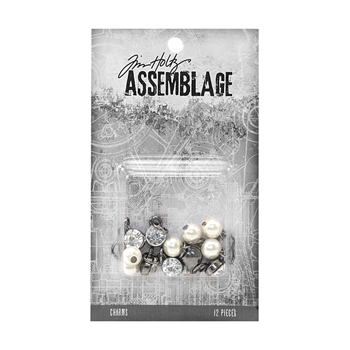 Tim Holtz Assemblage PACK OF 12 DIAMONDS AND PEARLS CHARMS THA20028