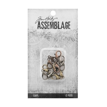 Tim Holtz Assemblage PACK OF 12 LOBSTER CLAW CLASPS ASSORTED THA20051