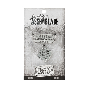 Tim Holtz Assemblage PACK OF 3 TAGS CHARMS THA20048