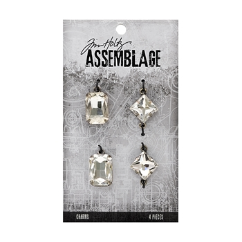 Tim Holtz Assemblage PACK OF 4 FACETED GEMS CHARMS THA20029
