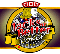 """This is the official logo of Jacks or Better by Pragmatic Play a 2016 video poker game. The logo consists of the words """"Jacks or Better"""" and with a jack card in the background. The picture is a link. By clicking on the picture you will be taken to a new page, where you can play this free game online."""