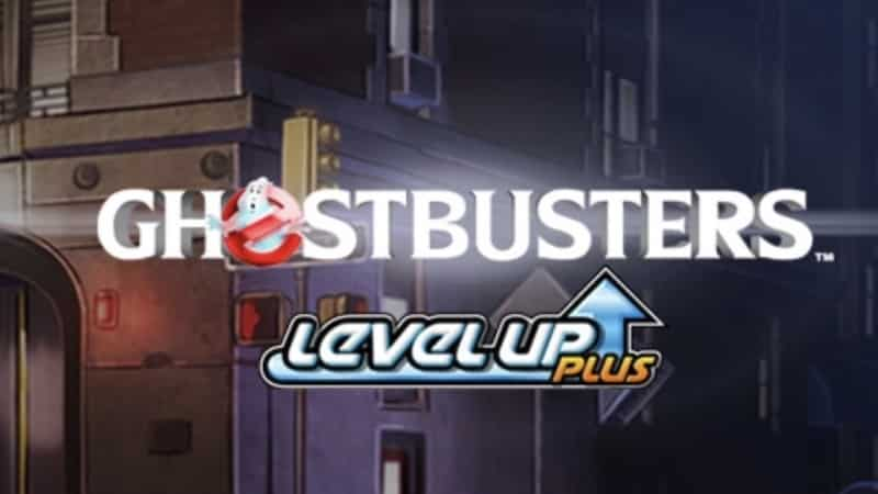 This is the official IGT (International Game Technology) header image of the 2019 GhostBusters Level Up Plus Slot. It features the the headquarters of the ghostbusters as seen in the movie in the background and the name of the slot in the foreground.