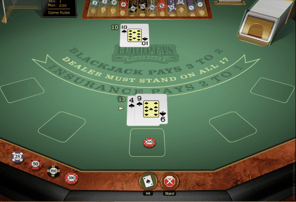 The picture shows you how to play the European Blackjack